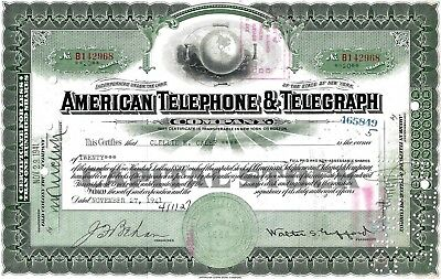 AT&T American Telephone & Telegraph Company N.Y. 1941 (20 Shares)