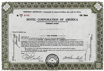 Hotel Corporation of America, 1956, Temporary Certificate  (100 Shares)