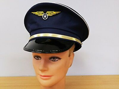 Pilot Aviator Hat Cap Airline Occupation Uniform Fancy Costume Party Accessories