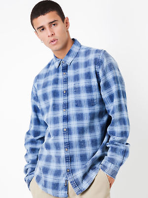 New Article No.1 Mens Kurt Acid Flannel Long Sleeve Shirt In Navy