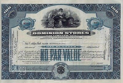 CANADA - Dominion Stores Limited, 1927  (100 Shares)