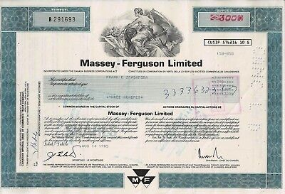 Canada - Massey - Ferguson Limited 1985 (300 Shares) seltene Farbe