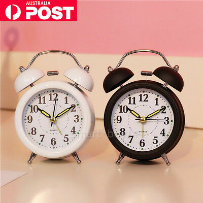 Twin Bell Alarm Clock Loud Clocks Silent Vintage Retro Battery Bedside Analogue