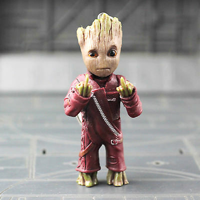 1pc Guardians of the Galaxy Vol.2 Baby Groot Middle finger Key Chain Figure