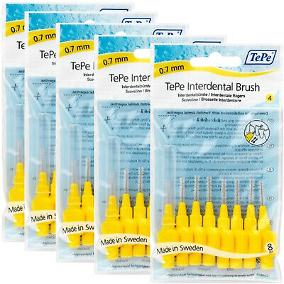 New Genuine TePe Interdental Brushes Yellow 0.7mm 5x8 brushes (TEPEYellow5bun)