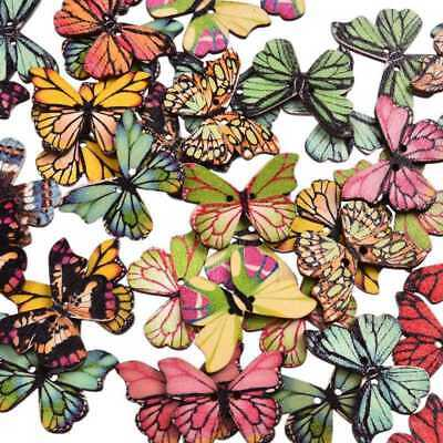 50x Butterfly Wood Buttons 2 Holes Mixed Color Scrapbooking DIY Sewing Crafts