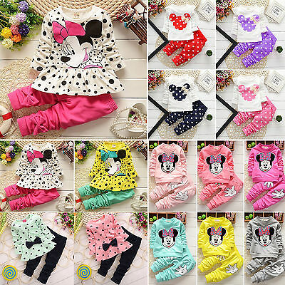 2Pcs Kids Baby Girl Clothes Minnie Mouse Hoodie Sweatshirt Tops Pants Outfit Set
