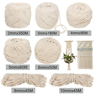 2/3/4/5/6/8/10mm Macrame Craft Rope Natural Beige Cotton Twisted Cord Hand DIY