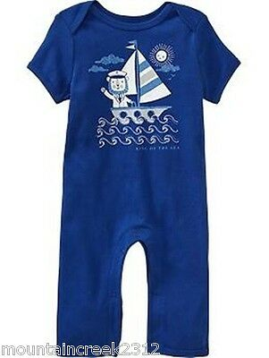 Old Navy Boy's One Piece Size 0 3 months Sailing Lion Cotton Romper Blue New