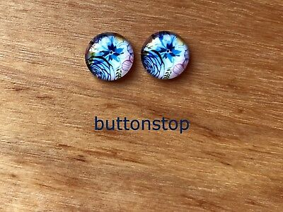 2 x 12mm glass dome cabochons - blue floral