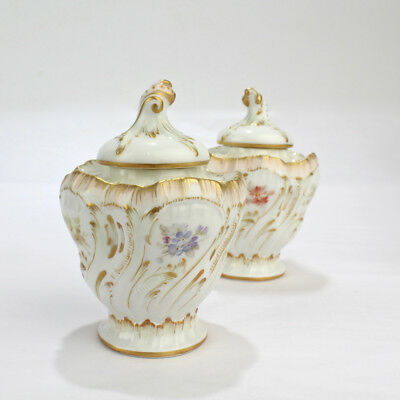 Pair 19th C Antique KPM Berlin Porcelain Weichmalerei Inkwells and Covers - PC