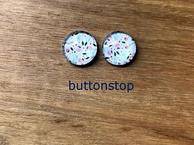 2 x 12mm glass dome cabochons - fine pastel floral