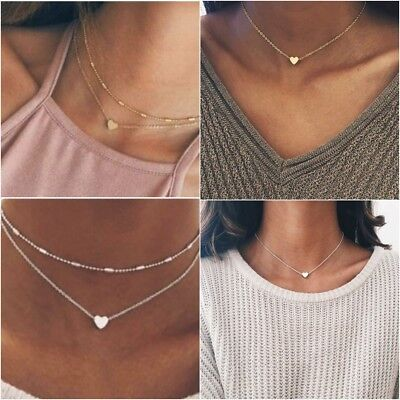 Womens Necklaces Heart Chain Choker Beaded Silver Gold Pendant Girls Long Gift