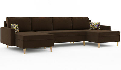 Corner Sofa Bed With Storage Brown Fabric Scandinavian Style Scandi Legs Choice