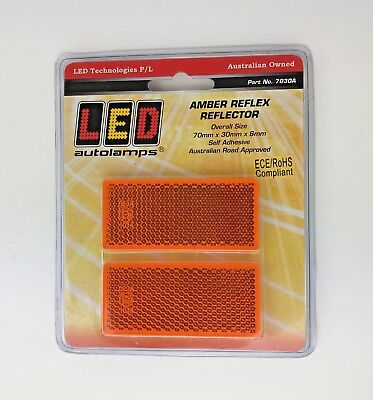 2 Amber Orange Rectangular Reflectors 70 x 30 x6mm Self Adhesive Trailer Caravan