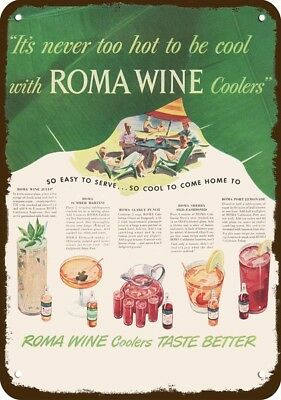 1948 ROMA WINE COOLERS Vintage Look REPLICA METAL SIGN - MINT JULEP - RECIPES
