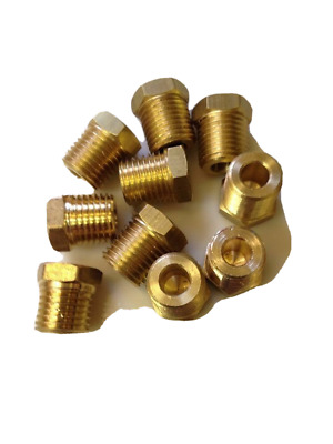"""5 pcs. 1/8"""" Male Pipe Thread Brass Pipe Cored Hex Head Plug Made In USA"""