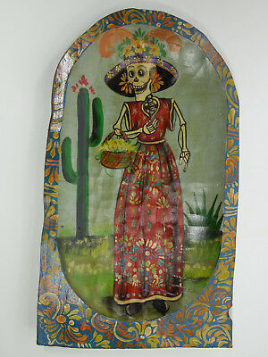 Hand painted wood dough bowl with day of the dead catrina scene mexican folk art