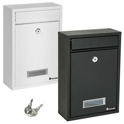 Post Box Lockable Letter Box Mail Wall Mounted  Steel White Black