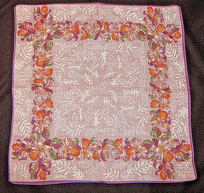 OLIVE'S HANKY from1940's*True Vintage Collection*LAVENDER/ORANGE IRIS*EXC COND