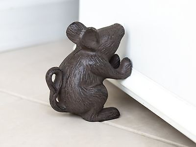 Vintage Antique Old Style Cast Iron Small Mouse Rat Rustic Door Stop Home Decor