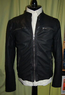 NWT SUPERDRY mens zip front black leather biker jacket size L - run small