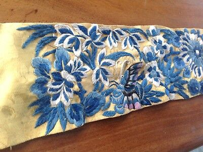 Antique Hand Embroidered Chinese Yellow Silk Panel Butterflies & Flowers