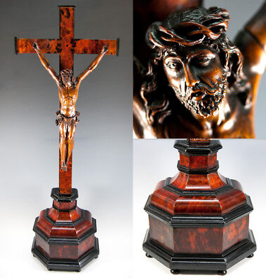 """RARE Antique French 1700s Hand Carved Christ on 28.5"""" Altar Cross, 11"""" Figure"""