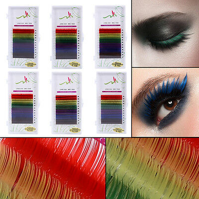 Multi-Colored Eyelash Extensions Rainbow Color Lashes 8-12mm Easy to-Apply Hot