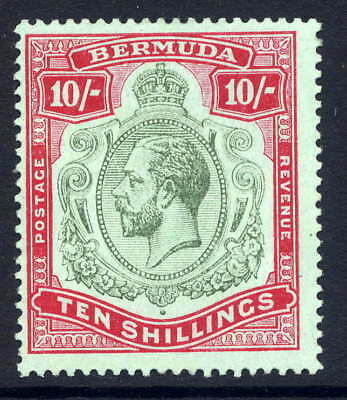 Bermuda 1918-22 Keyplate 10/- With Variety Similar To Hpf #3A Fresh Mounted Mint