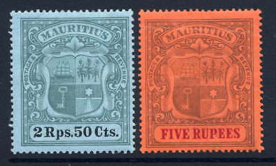 Mauritius 1900-05 2.50R & 5R High Values Mounted Mint. Stanley Gibbons 154-155.