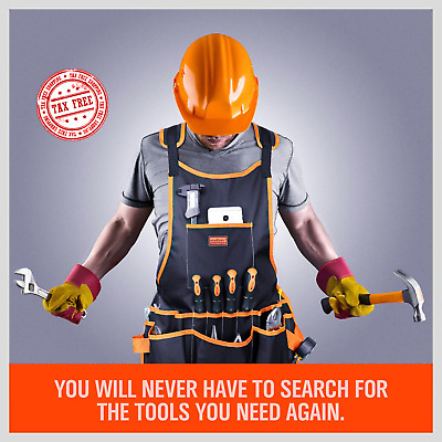 Electrician Tool Belt Bag Pouch Carpenter Apron Mechanic Vest 16 Pocket Fits All