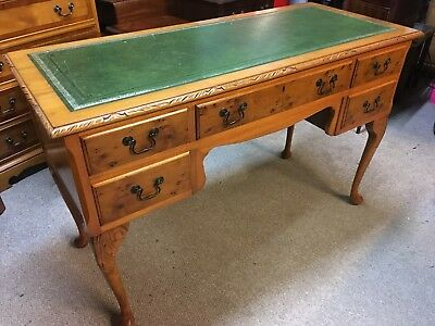 Antique Style Yew Wood Writing Desk With A Green Leather Top