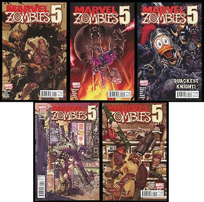 Marvel Zombies 5 Comic Set 1-2-3-4-5 War of the Worlds Machine Man Howard Duck