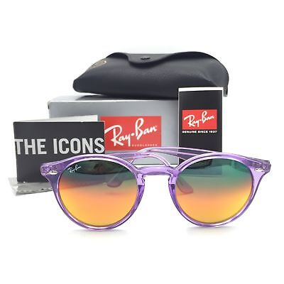 52f94bd73 New Ray-Ban RB2180 6280/A8 Round Sunglasses Violet Orange Mirrored Lenses  51mm