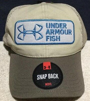 d04bcf0e389 Men s CoolSwitch Under Armour UA Tan Brown Mesh Snap Back Fishing Patch Cap   30