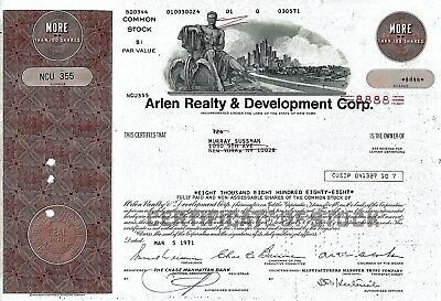 Arlen Realty & Development Corp., New York, 1971  (8.888 Shares) !!