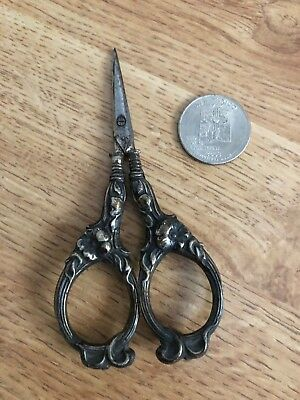 "VINTAGE Wm BENS CO. GERMANY Silver  ORNATE SCISSORS small 4"" sewing tool"