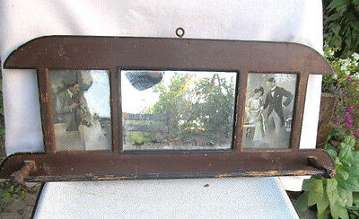 Antique Primitive Old Hand Carved Wooden Wall Hanging Mirror Towel Rack