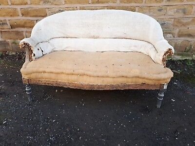 Antique 19th Century French Sofa Settee Calico Napoleon Vintage for Reupholstery