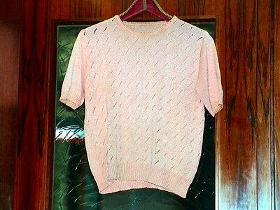 Damenbluse in rosa mit Muster gehäkelt, True Vintage, Bluse, Old Fashion