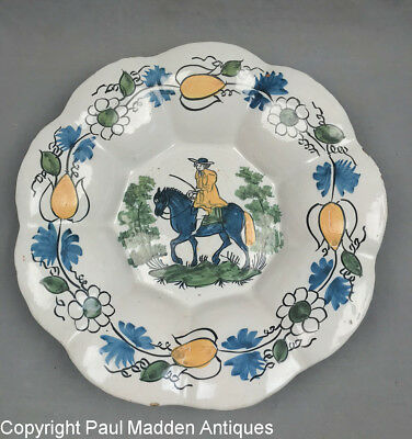 Antique Early 18th C. Dutch Delft Lobed Dish - Man on Horse