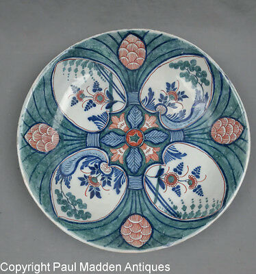 Antique 18th C. Dutch Delft Charger with Heart Design