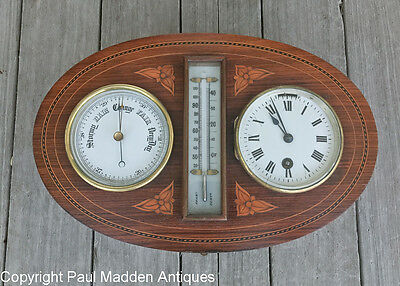 Antique Barometer Thermometer Clock