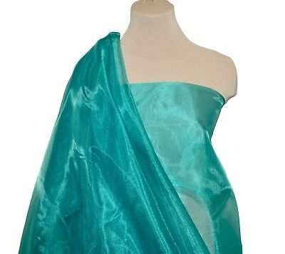 """IRIDESCENT ORGANZA POLY FABRIC TEAL 766  PAGEANT DRESSES CRAFTS 58/"""" FORMAL"""