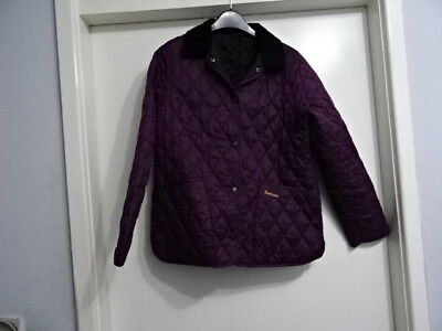 Barbour Childrens Shaped Liddesdale Quilted Jacket Size L 10/11 Yrs Wine