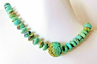 Museum Grade Vintage Antique Chinese Shou Carved Nat. Turquoise Beads Necklace