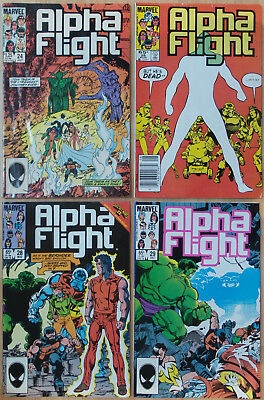 Lot of 4 Alpha Flight, Vol. 1 #24 #25 #28 #29 (Marvel, 1985) VF-NM