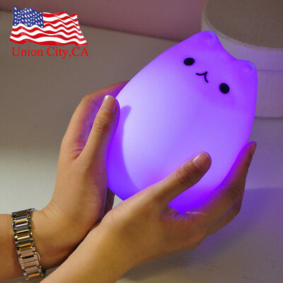 7 Color Changing Silicone Cartoon Cat Night Light Bedside Lamp Kids Baby Gift