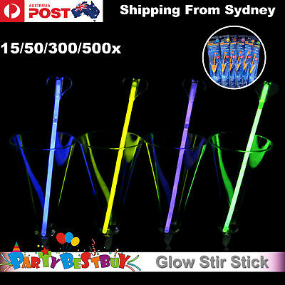 15-500x Glowing Swizzle Stick Glowsticks Glow Stir Light Shining Party Bar Event